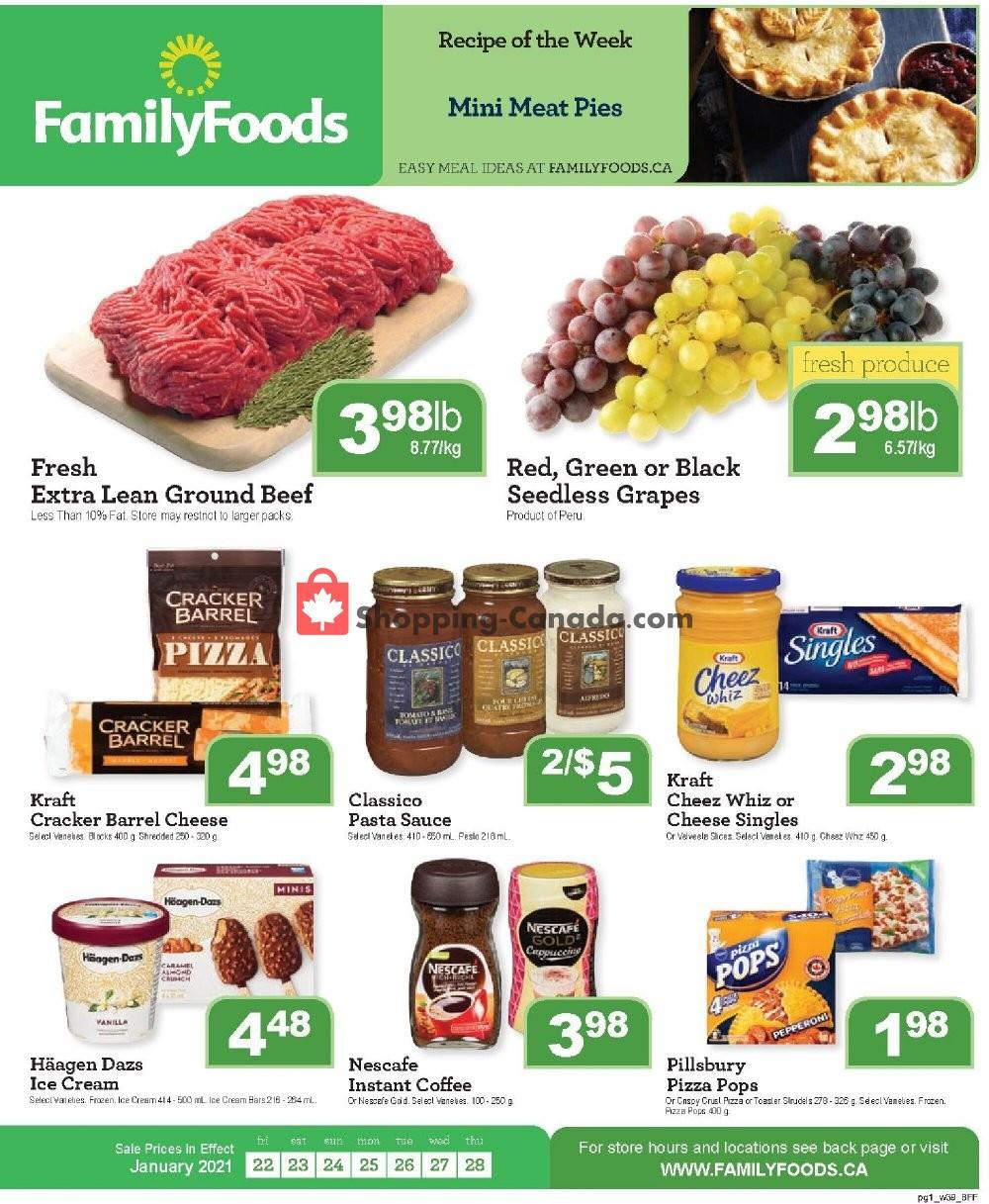 Flyer Family Foods Canada - from Friday January 22, 2021 to Thursday January 28, 2021