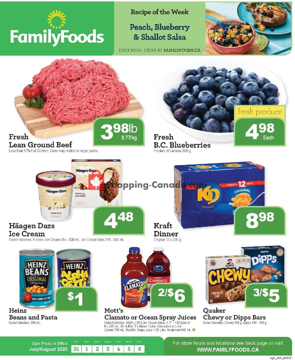 Flyer Family Foods Canada - from Friday July 31, 2020 to Thursday August 6, 2020