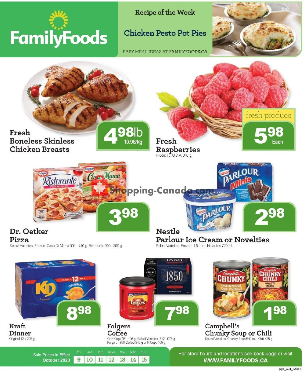 Flyer Family Foods Canada - from Friday October 9, 2020 to Thursday October 15, 2020