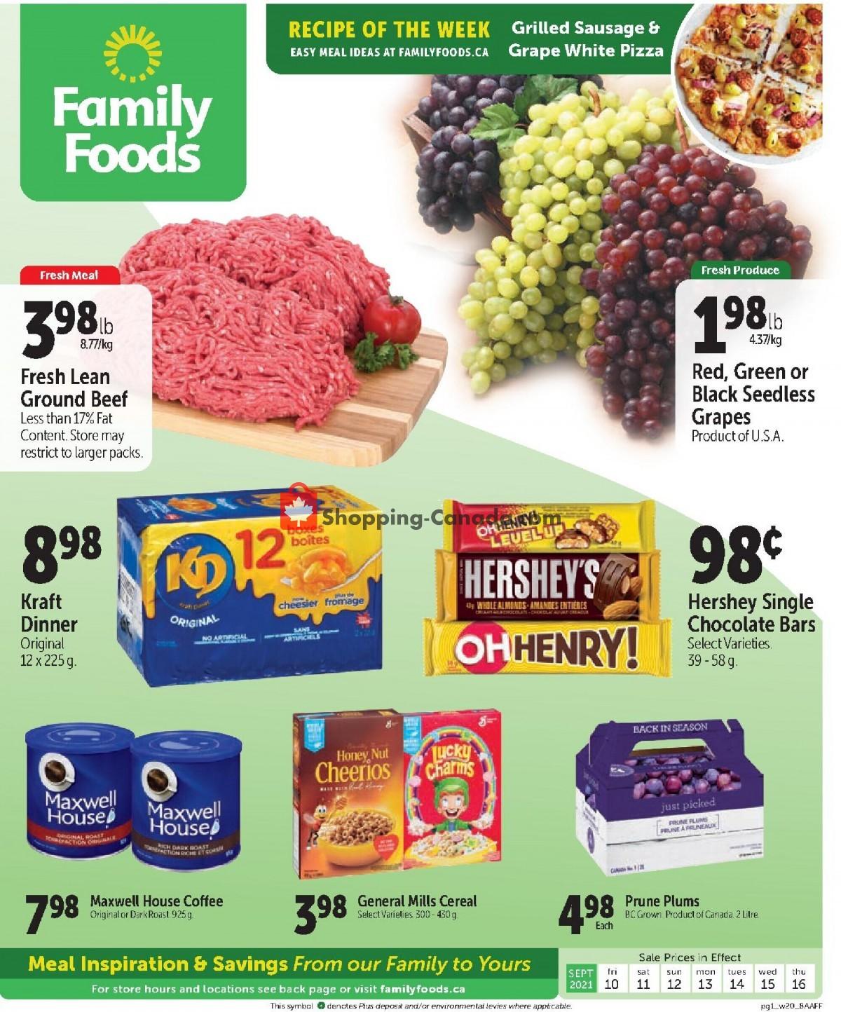 Flyer Family Foods Canada - from Friday September 10, 2021 to Thursday September 16, 2021