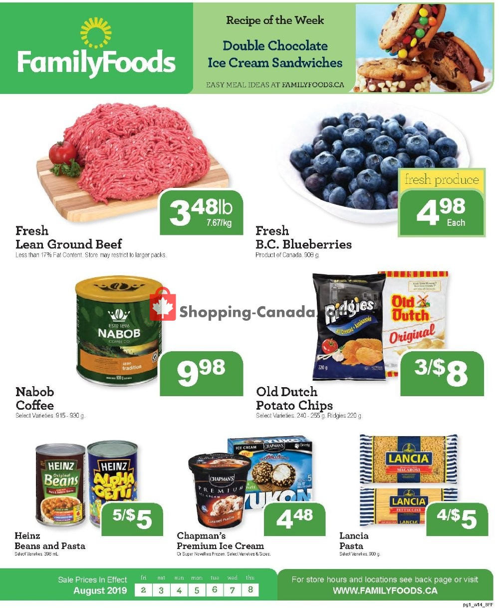 Flyer Family Foods Canada - from Friday August 2, 2019 to Thursday August 8, 2019