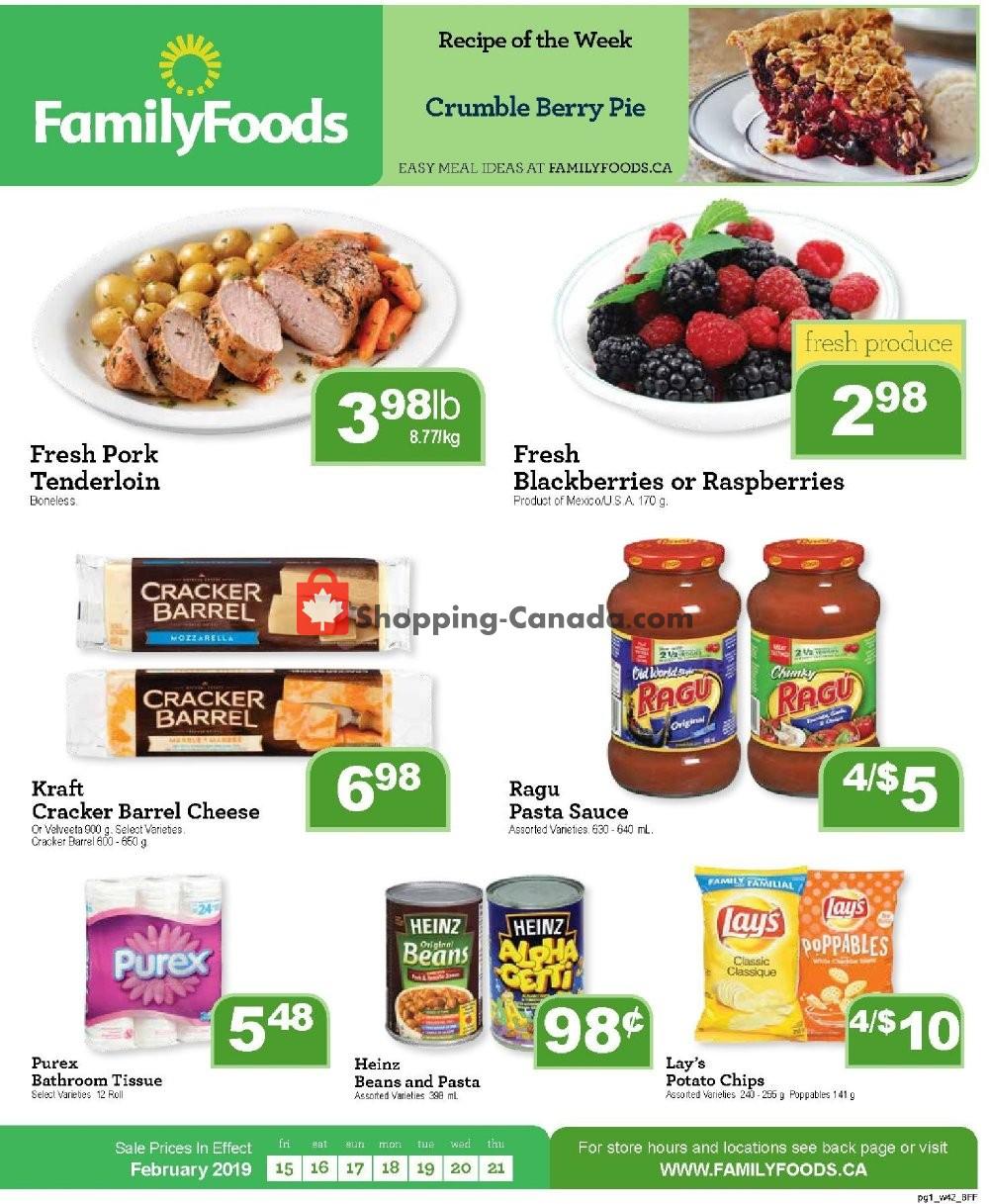 Flyer Family Foods Canada - from Friday February 15, 2019 to Thursday February 21, 2019