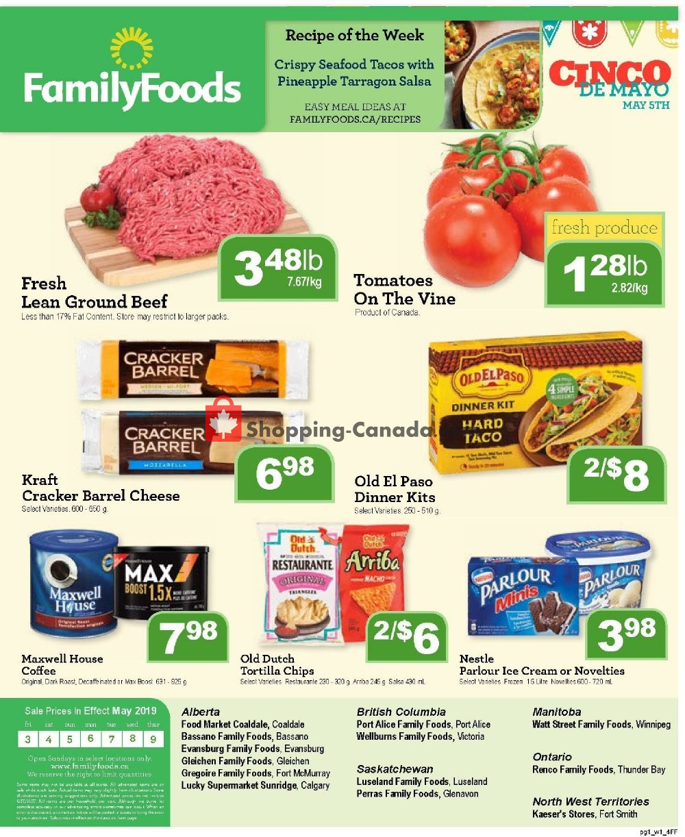 Flyer Family Foods Canada - from Friday May 3, 2019 to Thursday May 9, 2019