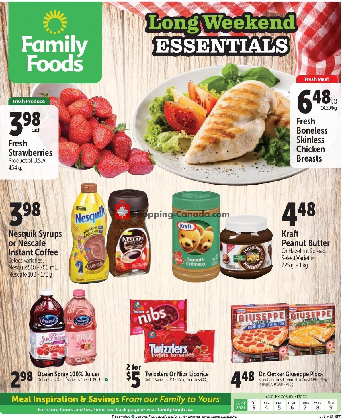 Flyer Family Foods Canada - from Friday September 3, 2021 to Thursday September 9, 2021