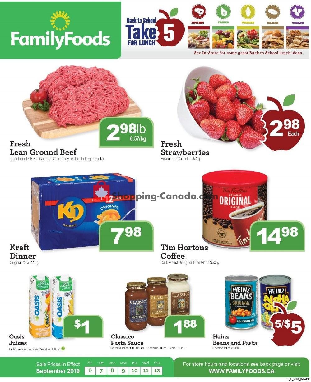 Flyer Family Foods Canada - from Friday September 6, 2019 to Thursday September 12, 2019
