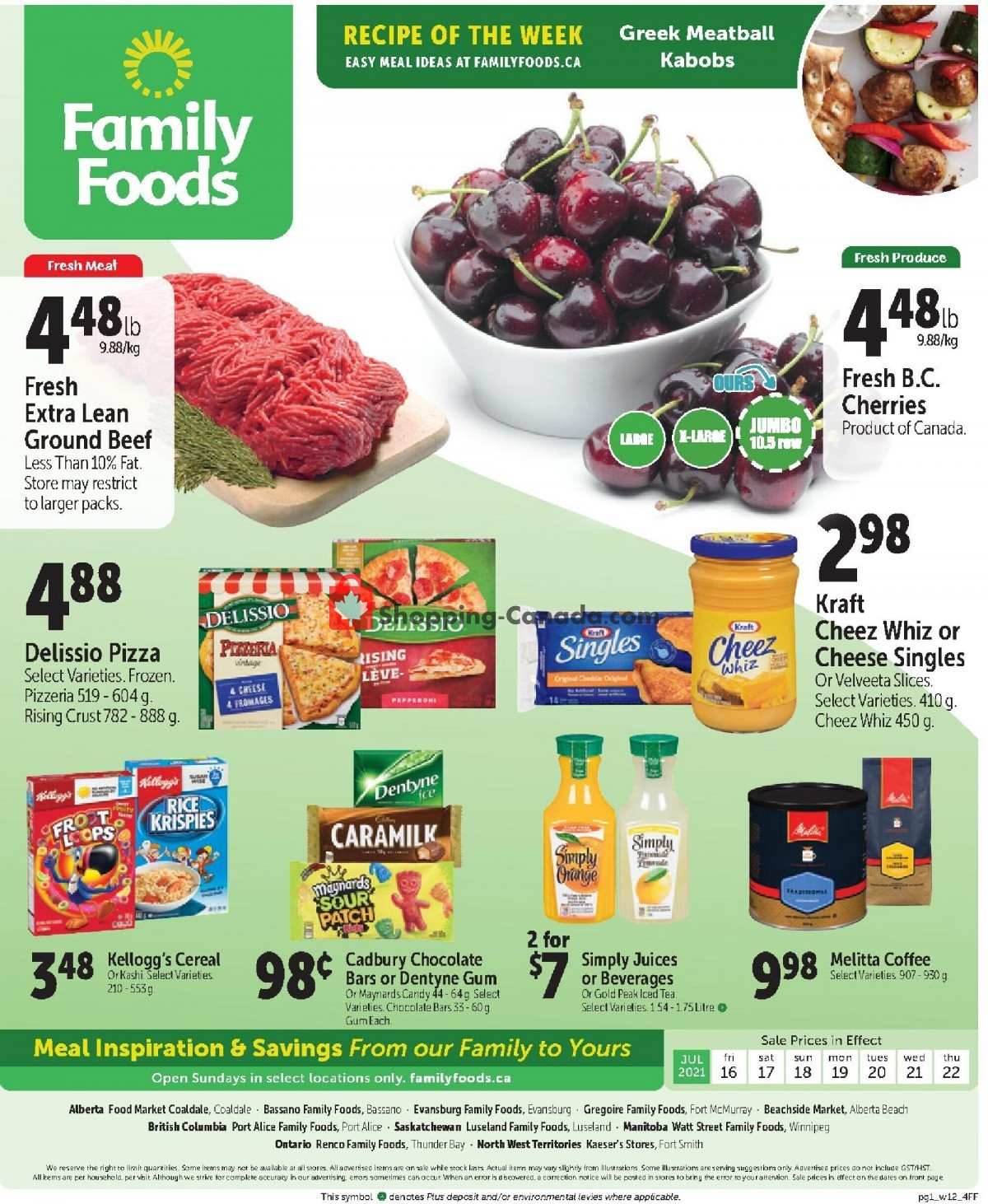 Flyer Family Foods Canada - from Friday July 16, 2021 to Thursday July 22, 2021