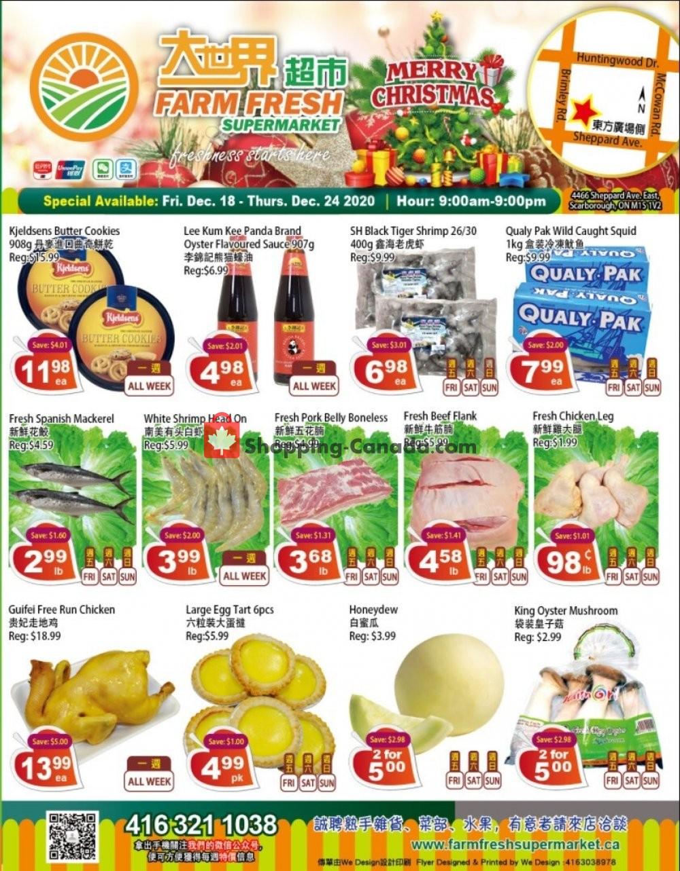 Flyer Farm Fresh Supermarkets Canada - from Friday December 18, 2020 to Thursday December 24, 2020