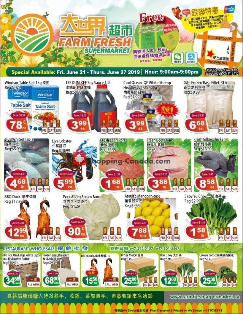 Flyer Farm Fresh Supermarkets Canada - from Friday June 21, 2019 to Thursday June 27, 2019