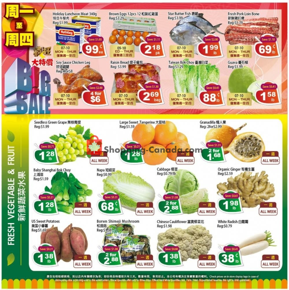 Flyer Farm Fresh Supermarkets Canada - from Friday October 4, 2019 to Thursday October 10, 2019