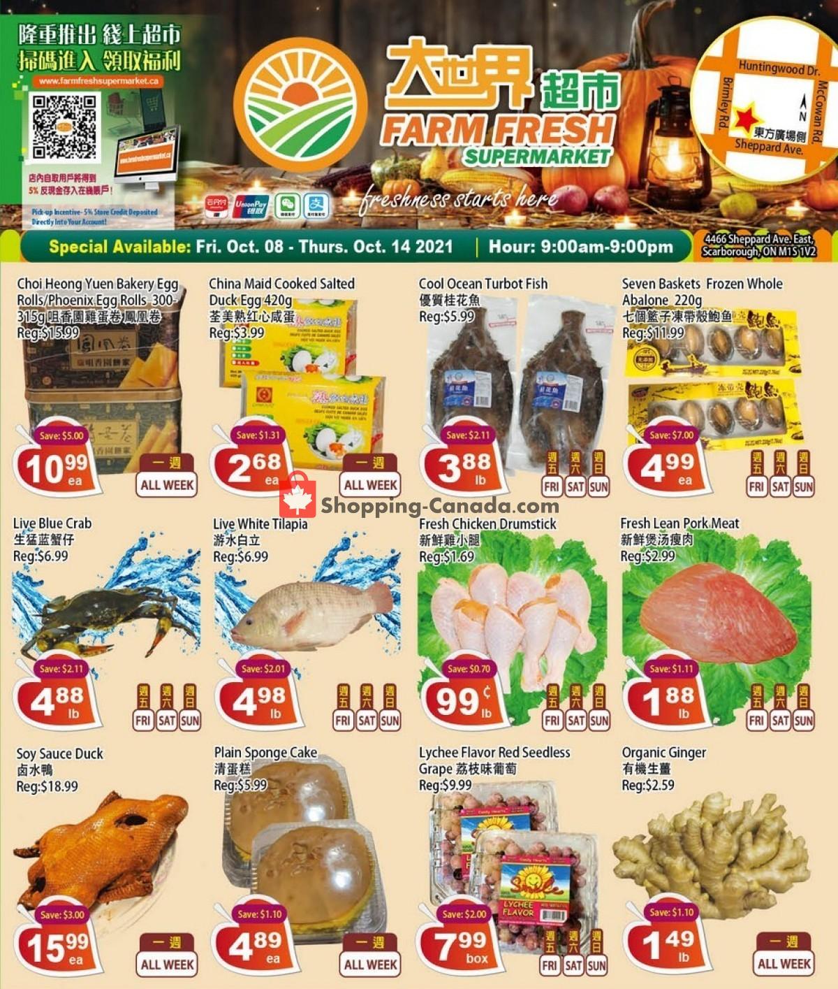 Flyer Farm Fresh Supermarkets Canada - from Friday October 8, 2021 to Thursday October 14, 2021