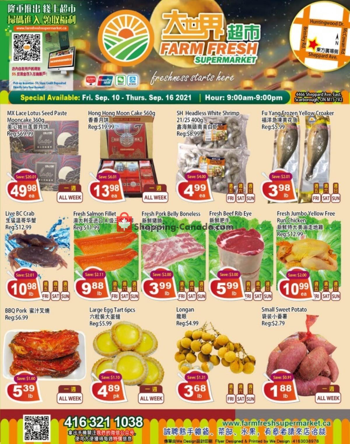 Flyer Farm Fresh Supermarkets Canada - from Friday September 10, 2021 to Thursday September 16, 2021