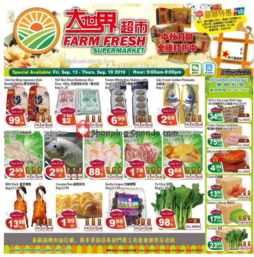 Flyer Farm Fresh Supermarkets Canada - from Friday September 13, 2019 to Thursday September 19, 2019