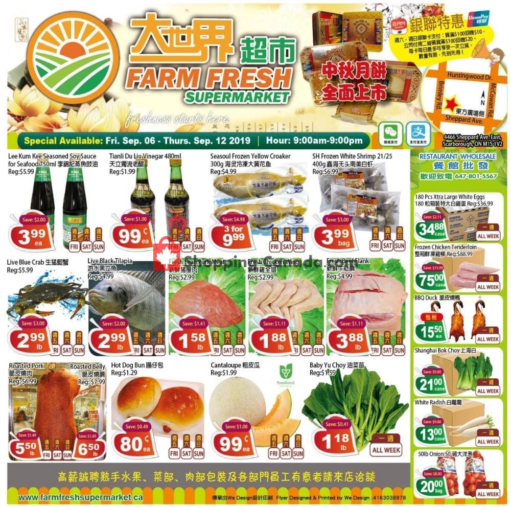Flyer Farm Fresh Supermarkets Canada - from Friday September 6, 2019 to Thursday September 12, 2019