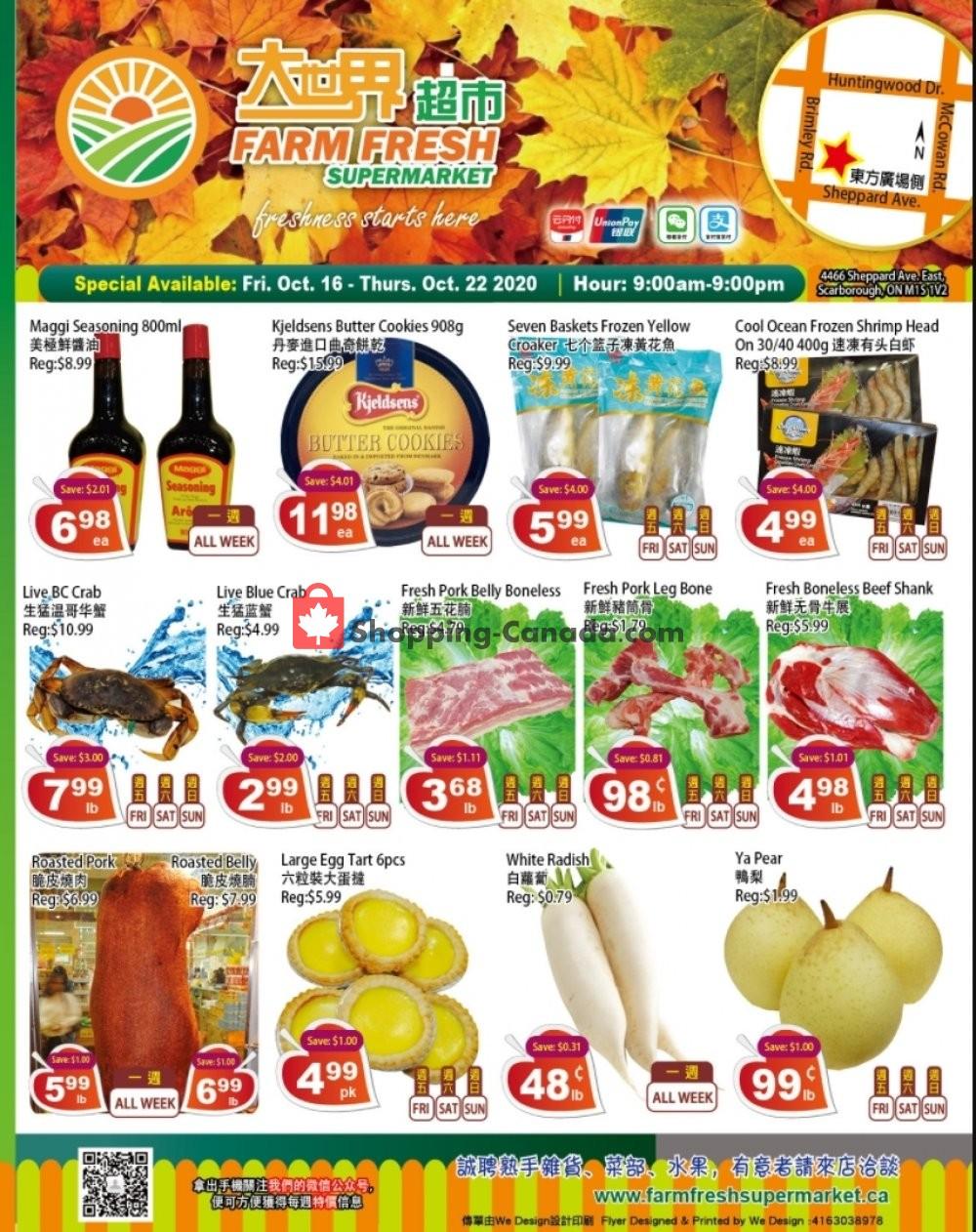 Flyer Farm Fresh Supermarkets Canada - from Friday October 16, 2020 to Thursday October 22, 2020