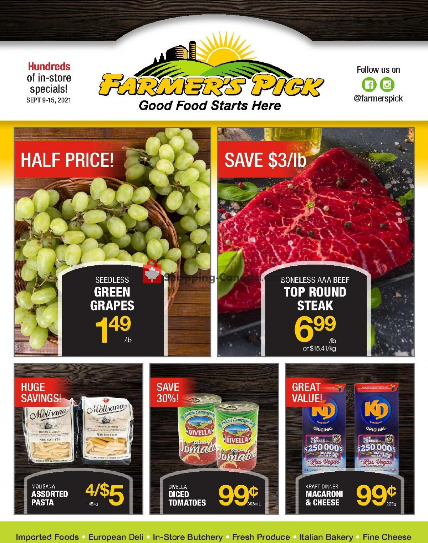 Flyer Farmers Pick Canada - from Thursday September 9, 2021 to Wednesday September 15, 2021
