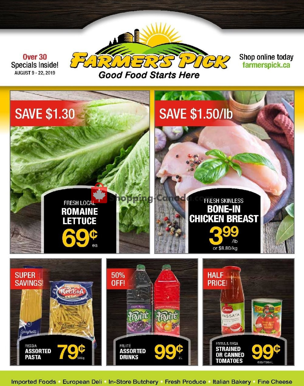 Flyer Farmers Pick Canada - from Friday August 9, 2019 to Thursday August 22, 2019