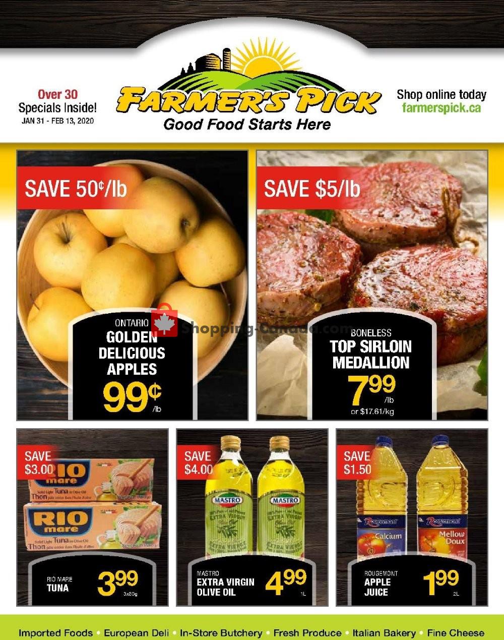 Flyer Farmers Pick Canada - from Friday January 31, 2020 to Thursday February 13, 2020