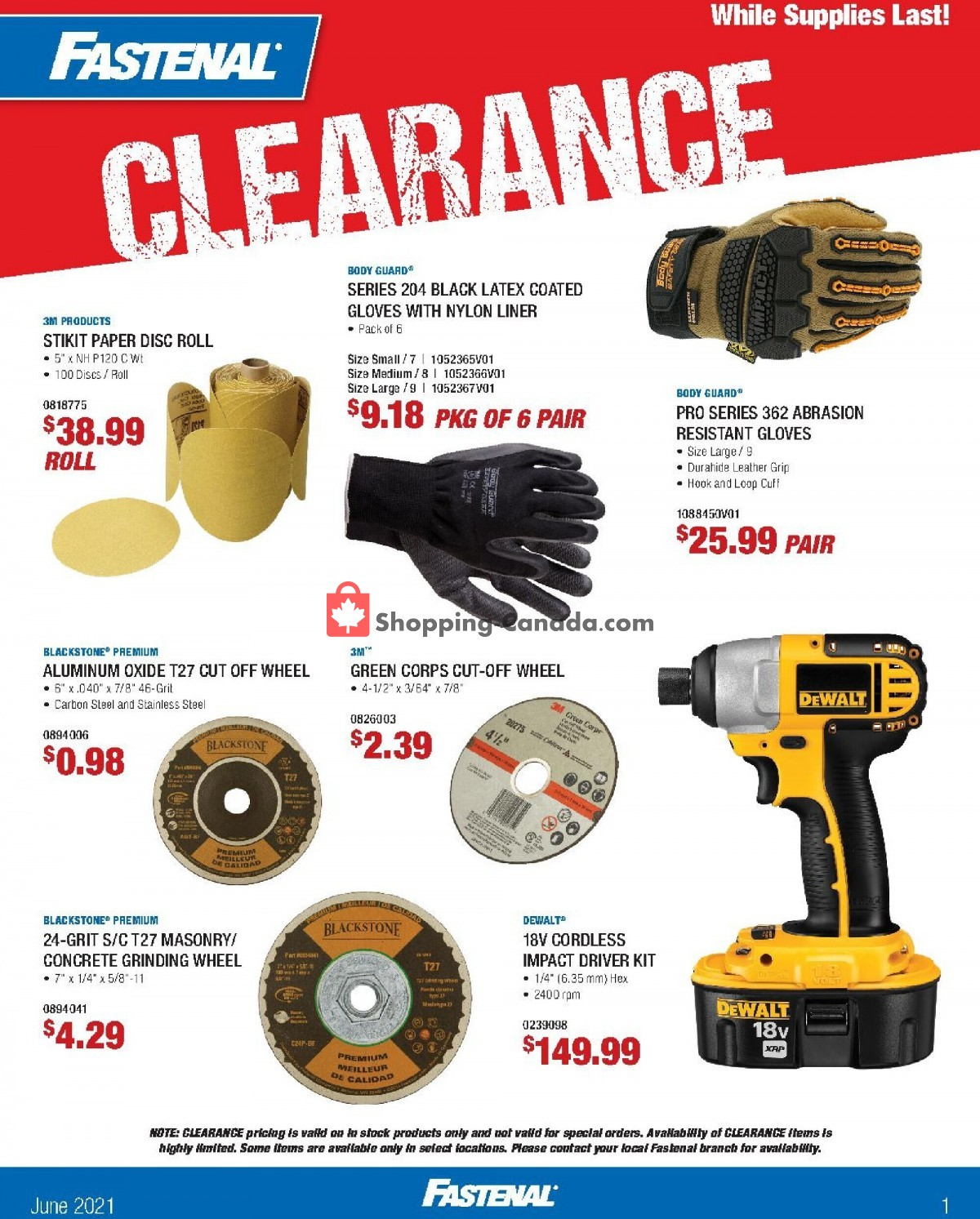 Flyer Fastenal Canada - from Tuesday June 1, 2021 to Wednesday June 30, 2021