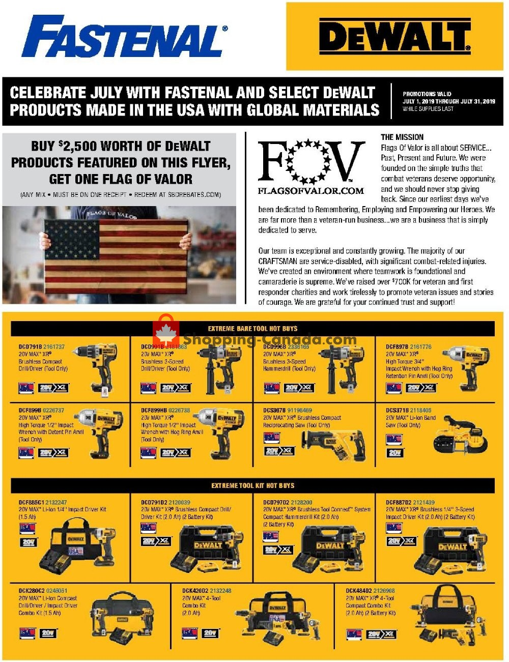 Flyer Fastenal Canada - from Monday July 1, 2019 to Wednesday July 31, 2019