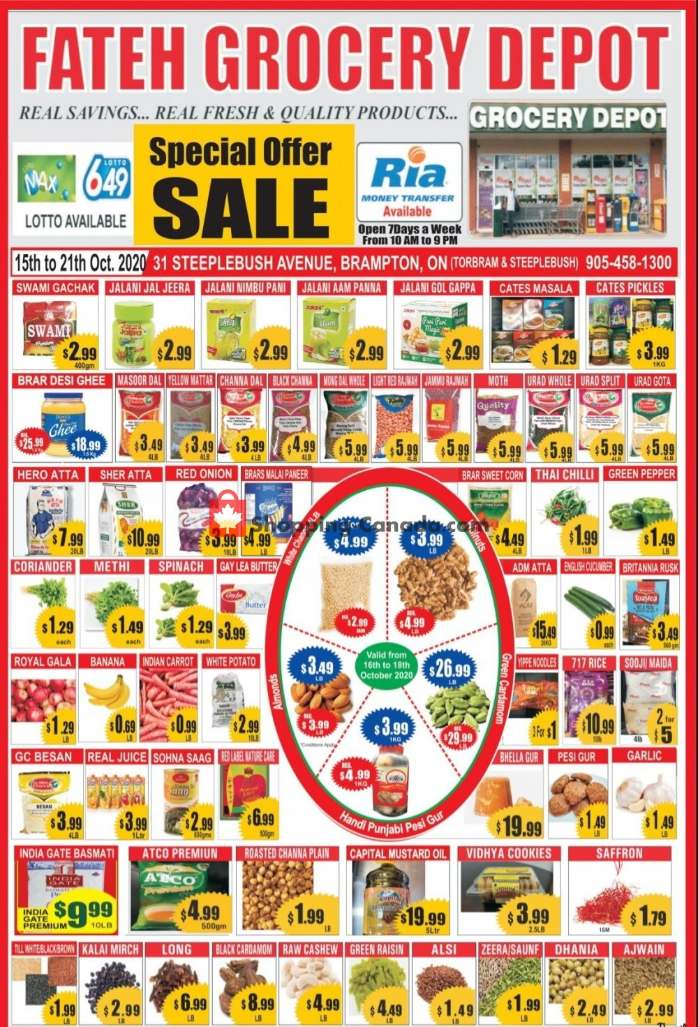 Flyer Fateh Grocery Depot Canada - from Thursday October 15, 2020 to Wednesday October 21, 2020