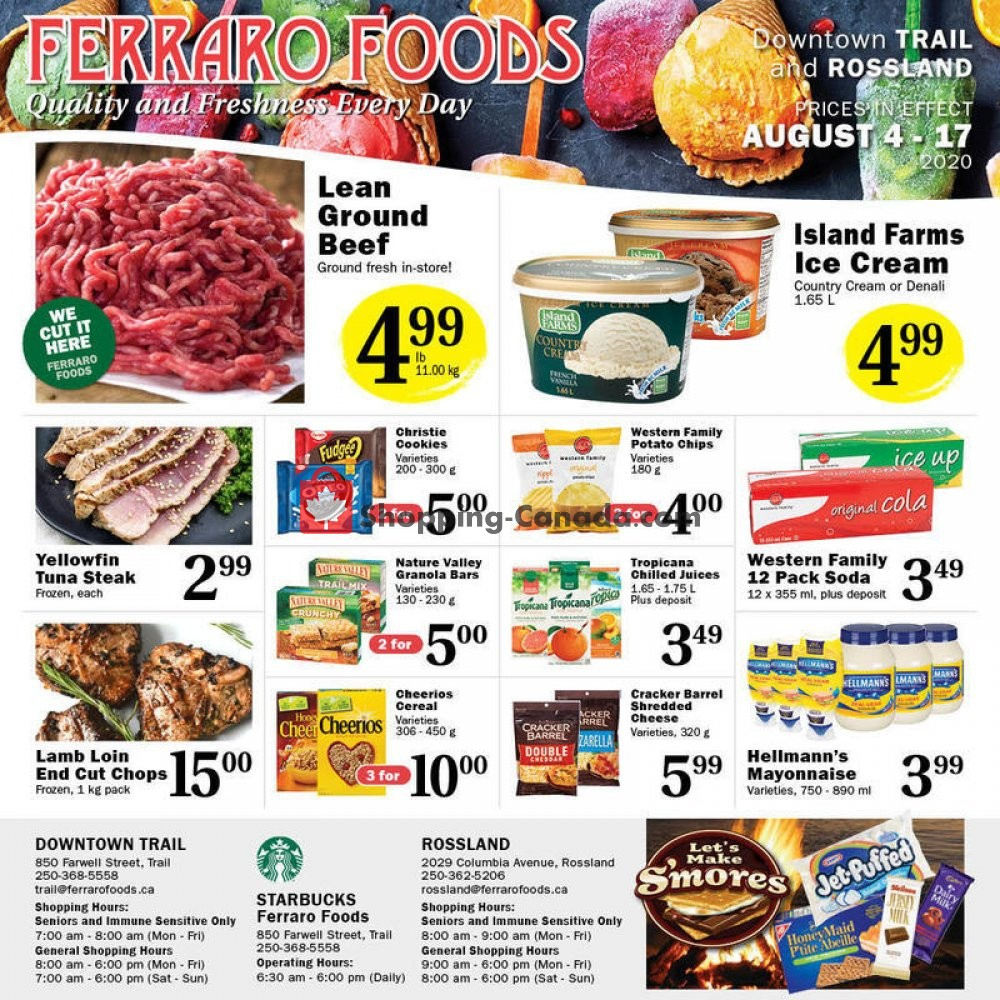 Flyer Ferraro Foods Canada - from Tuesday August 4, 2020 to Monday August 17, 2020