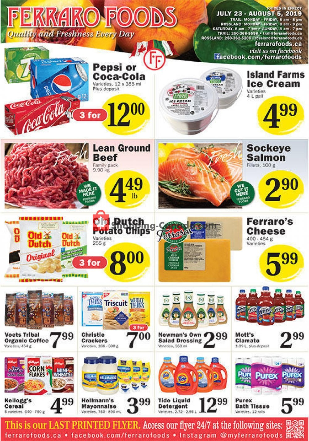 Flyer Ferraro Foods Canada - from Tuesday July 23, 2019 to Monday August 5, 2019