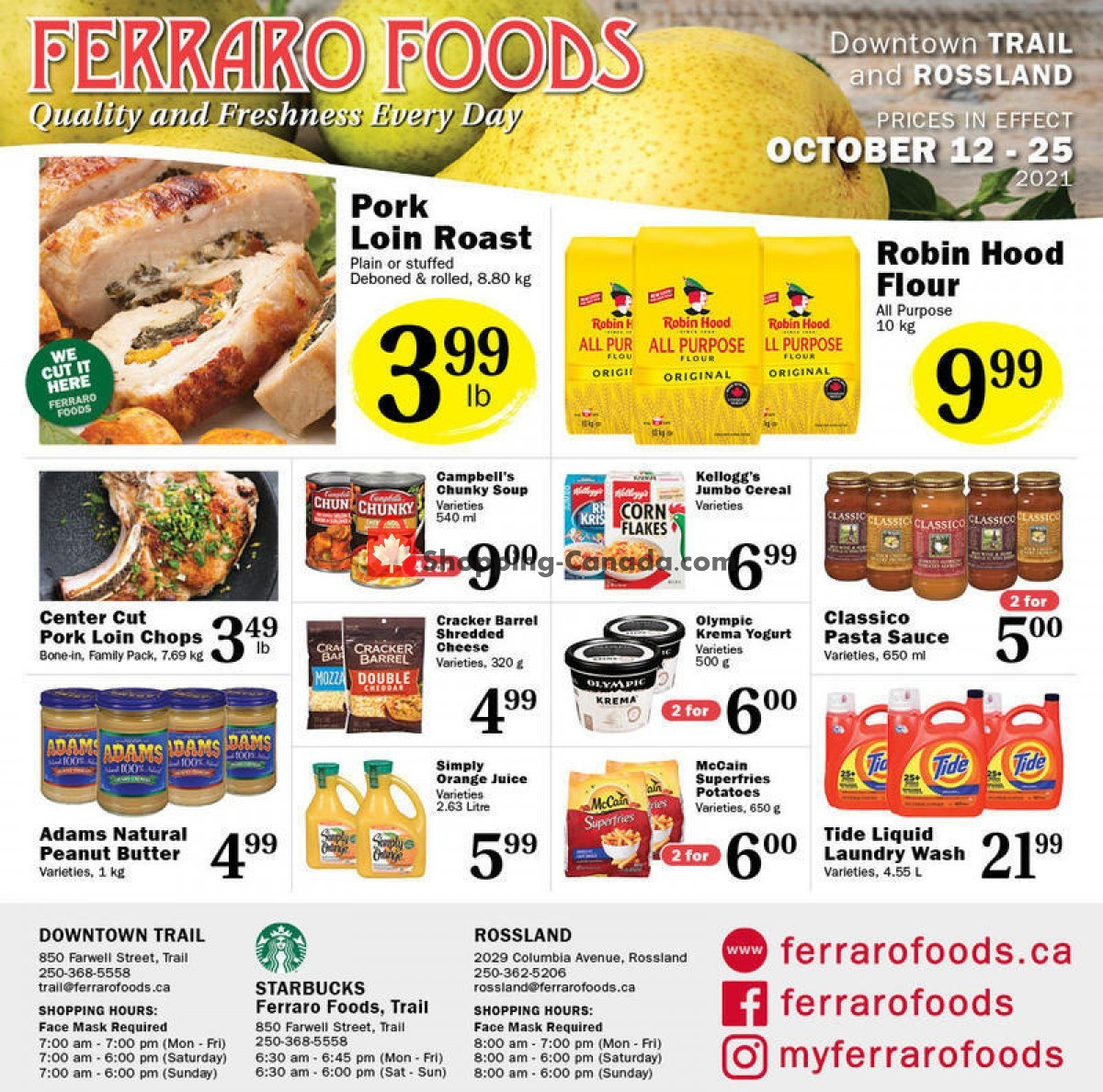 Flyer Ferraro Foods Canada - from Tuesday October 12, 2021 to Monday October 25, 2021