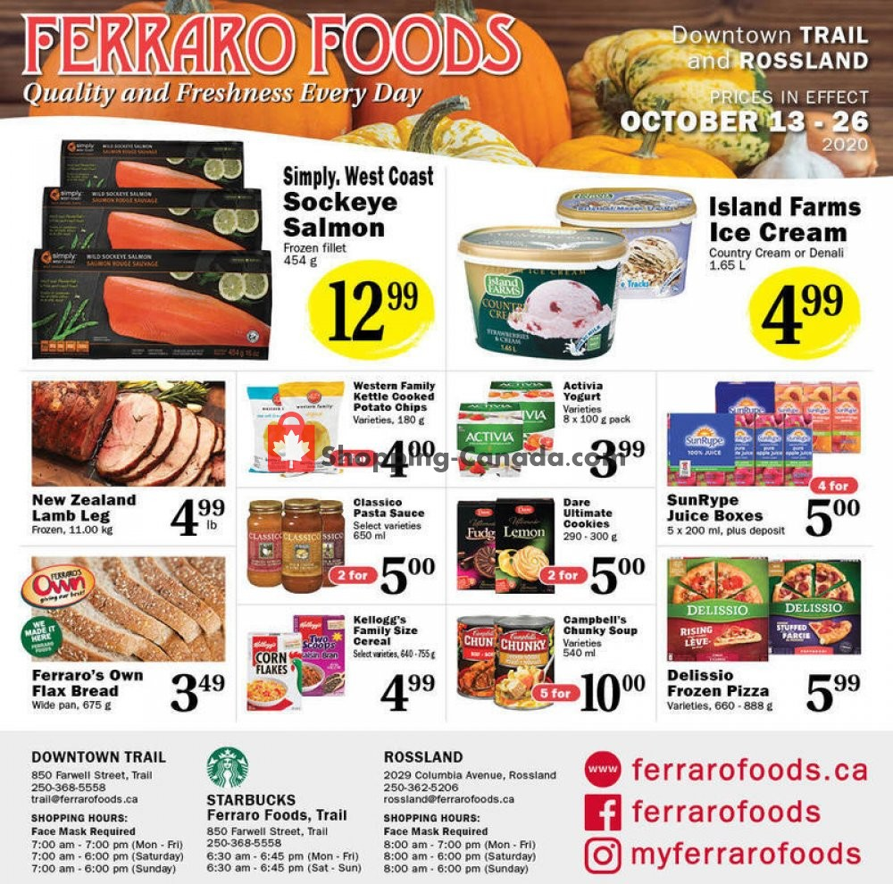 Flyer Ferraro Foods Canada - from Tuesday October 13, 2020 to Monday October 26, 2020