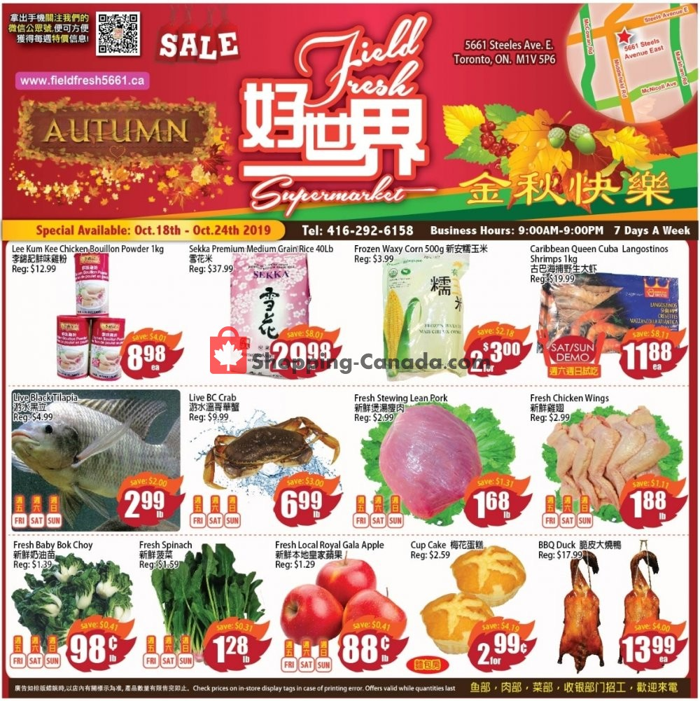 Flyer Field Fresh Supermarket Canada - from Friday October 18, 2019 to Thursday October 24, 2019