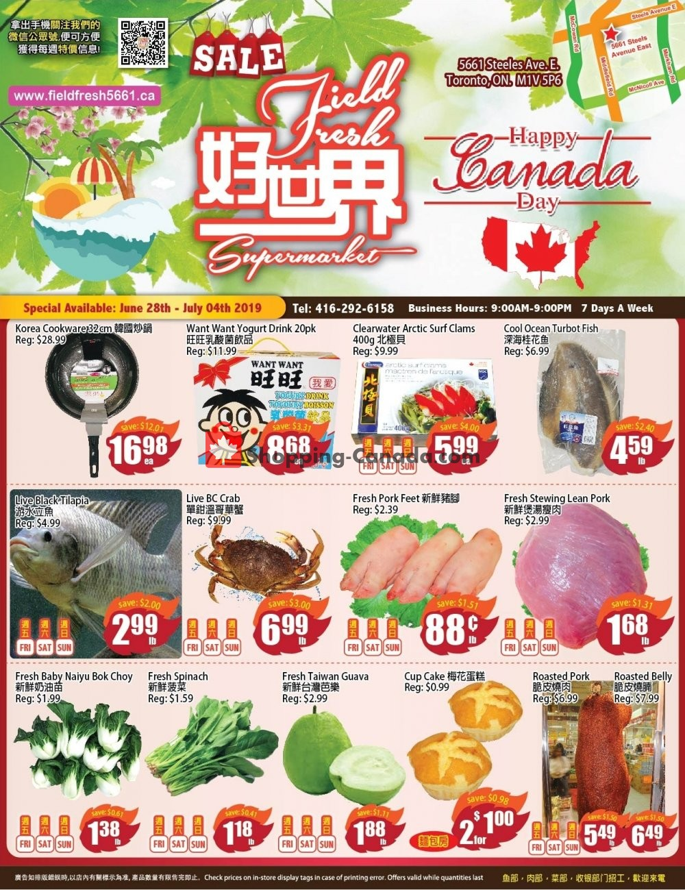Flyer Field Fresh Supermarket Canada - from Friday June 28, 2019 to Thursday July 4, 2019