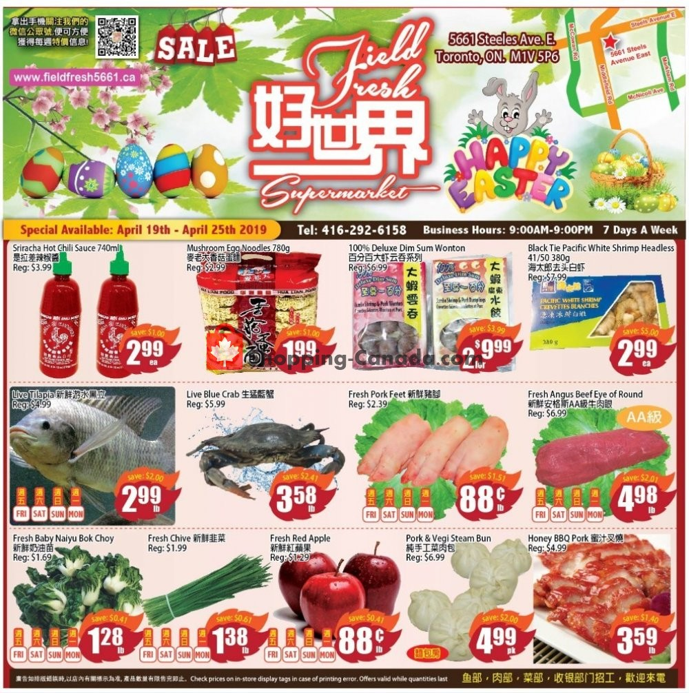 Flyer Field Fresh Supermarket Canada - from Friday April 19, 2019 to Thursday April 25, 2019