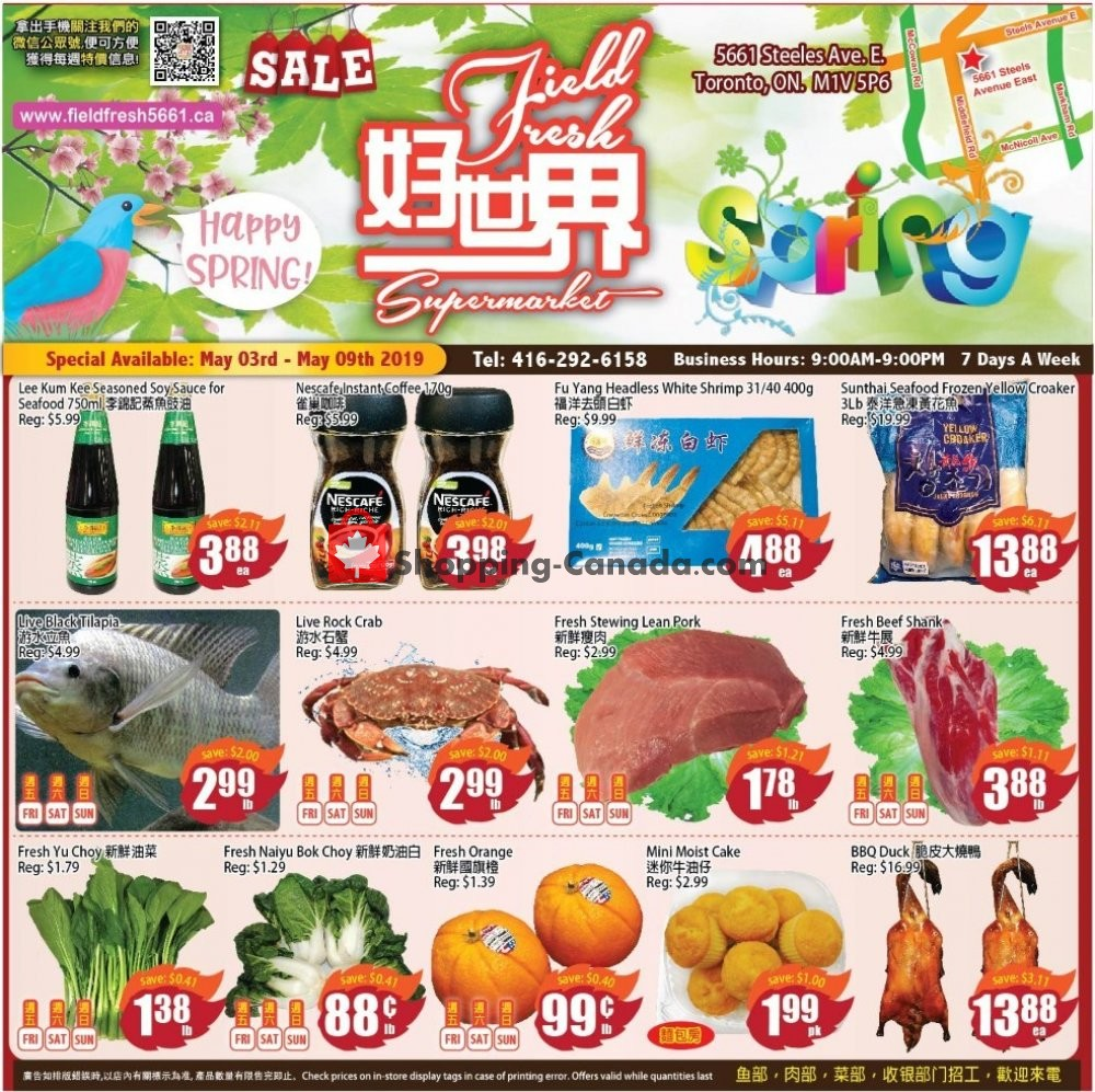 Flyer Field Fresh Supermarket Canada - from Friday May 3, 2019 to Thursday May 9, 2019
