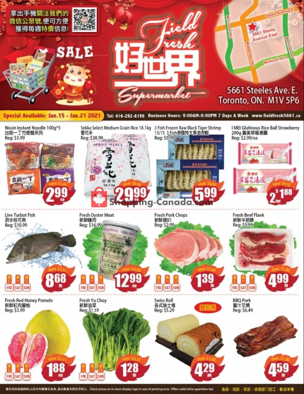 Flyer Field Fresh Supermarket Canada - from Friday January 15, 2021 to Thursday January 21, 2021