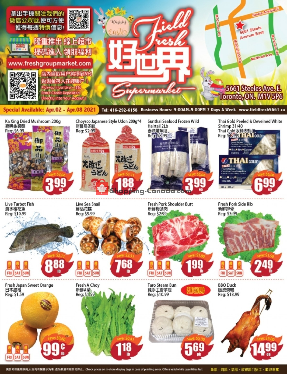 Flyer Field Fresh Supermarket Canada - from Friday April 2, 2021 to Thursday April 8, 2021
