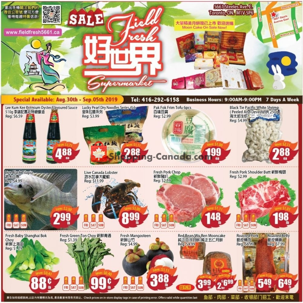 Flyer Field Fresh Supermarket Canada - from Friday August 30, 2019 to Thursday September 5, 2019