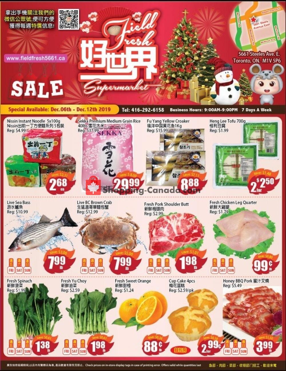 Flyer Field Fresh Supermarket Canada - from Friday December 6, 2019 to Thursday December 12, 2019
