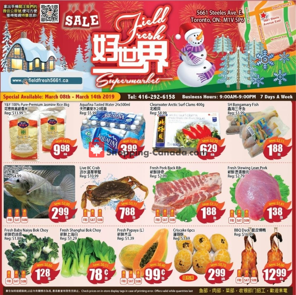 Flyer Field Fresh Supermarket Canada - from Friday March 8, 2019 to Thursday March 14, 2019