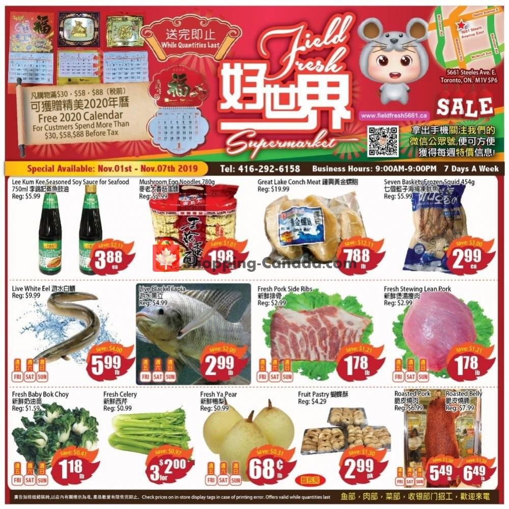 Flyer Field Fresh Supermarket Canada - from Friday November 1, 2019 to Thursday November 7, 2019