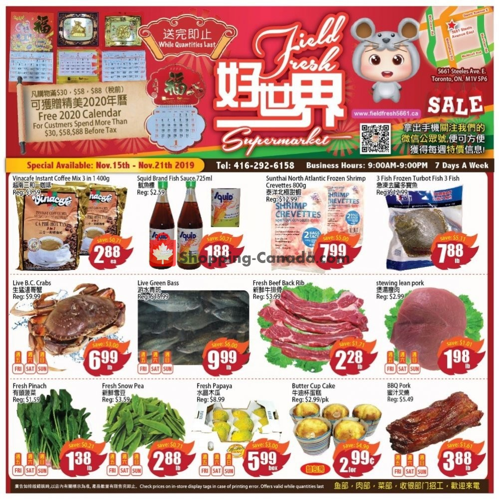 Flyer Field Fresh Supermarket Canada - from Friday November 15, 2019 to Thursday November 21, 2019