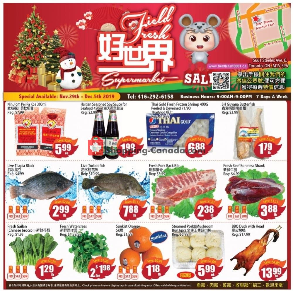 Flyer Field Fresh Supermarket Canada - from Friday November 29, 2019 to Thursday December 5, 2019