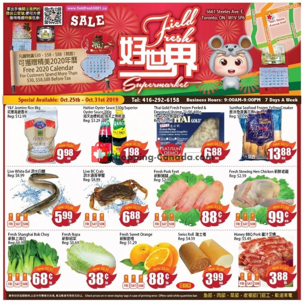Flyer Field Fresh Supermarket Canada - from Friday October 25, 2019 to Thursday October 31, 2019