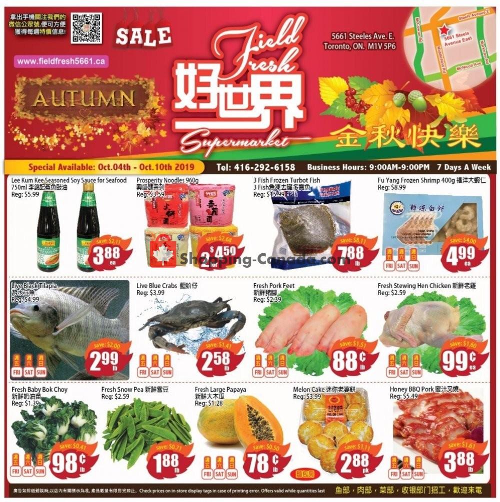 Flyer Field Fresh Supermarket Canada - from Friday October 4, 2019 to Thursday October 10, 2019