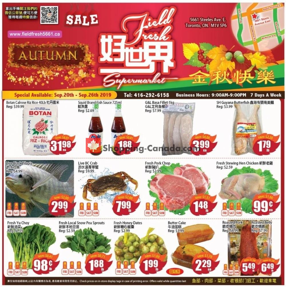 Flyer Field Fresh Supermarket Canada - from Friday September 20, 2019 to Thursday September 26, 2019
