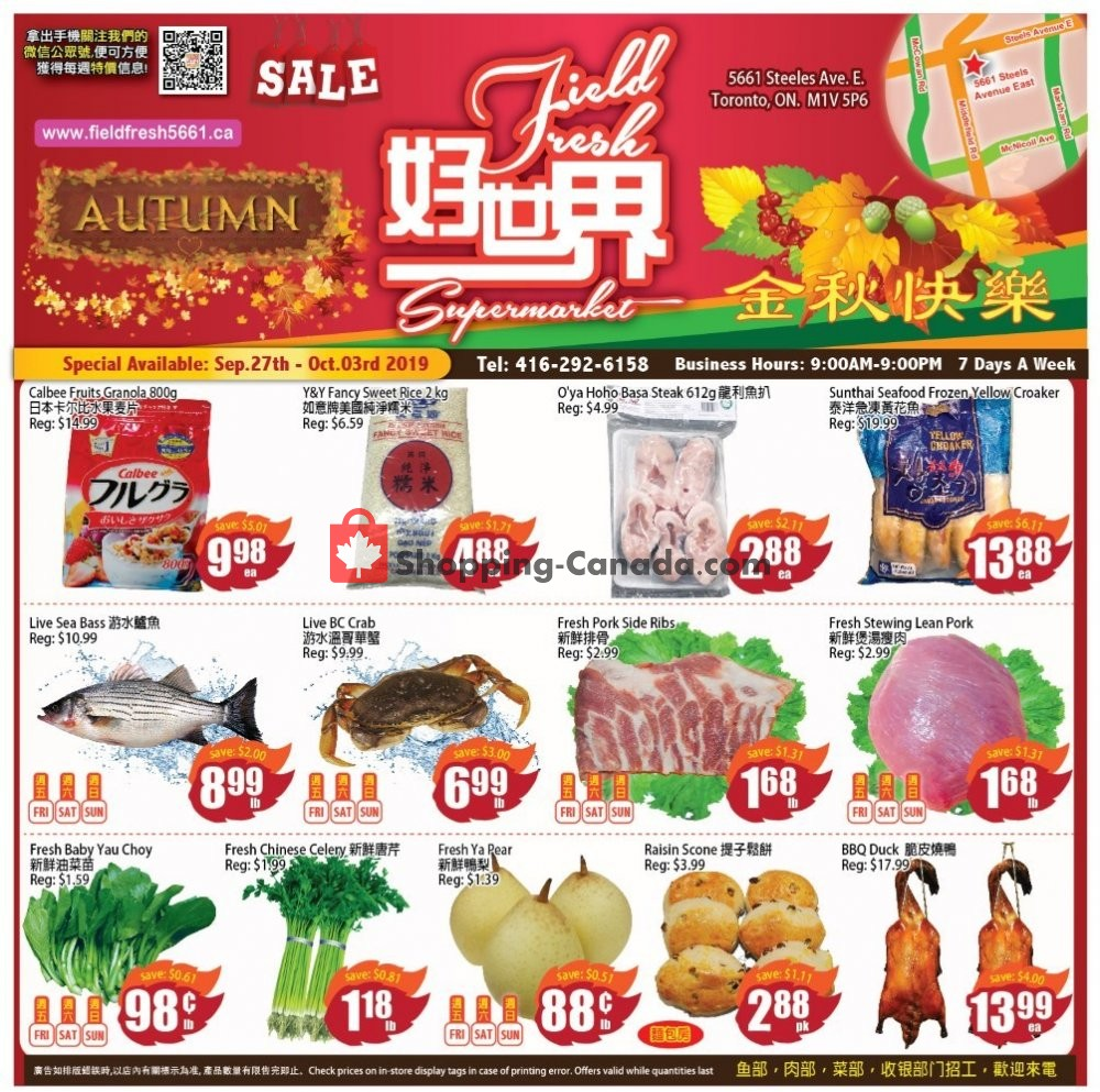 Flyer Field Fresh Supermarket Canada - from Friday September 27, 2019 to Thursday October 3, 2019