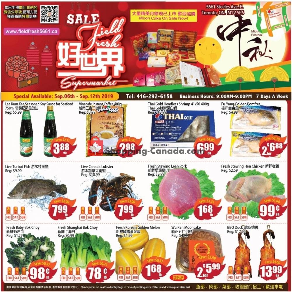Flyer Field Fresh Supermarket Canada - from Friday September 6, 2019 to Thursday September 12, 2019