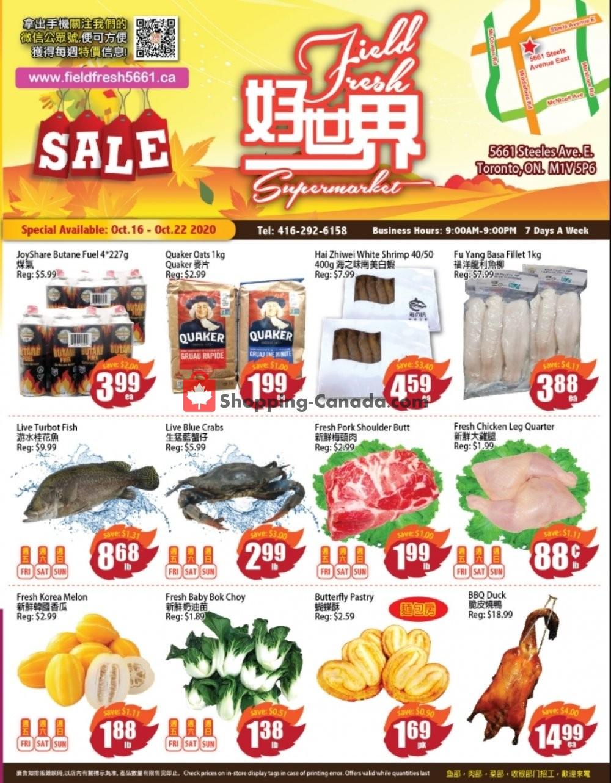 Flyer Field Fresh Supermarket Canada - from Friday October 16, 2020 to Thursday October 22, 2020