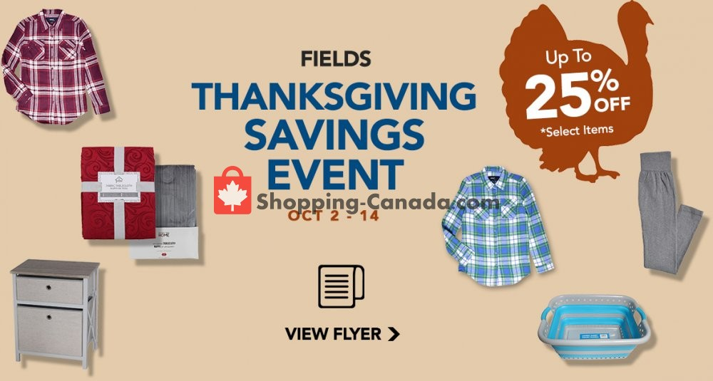 Flyer Fields Canada - from Wednesday October 2, 2019 to Monday October 14, 2019
