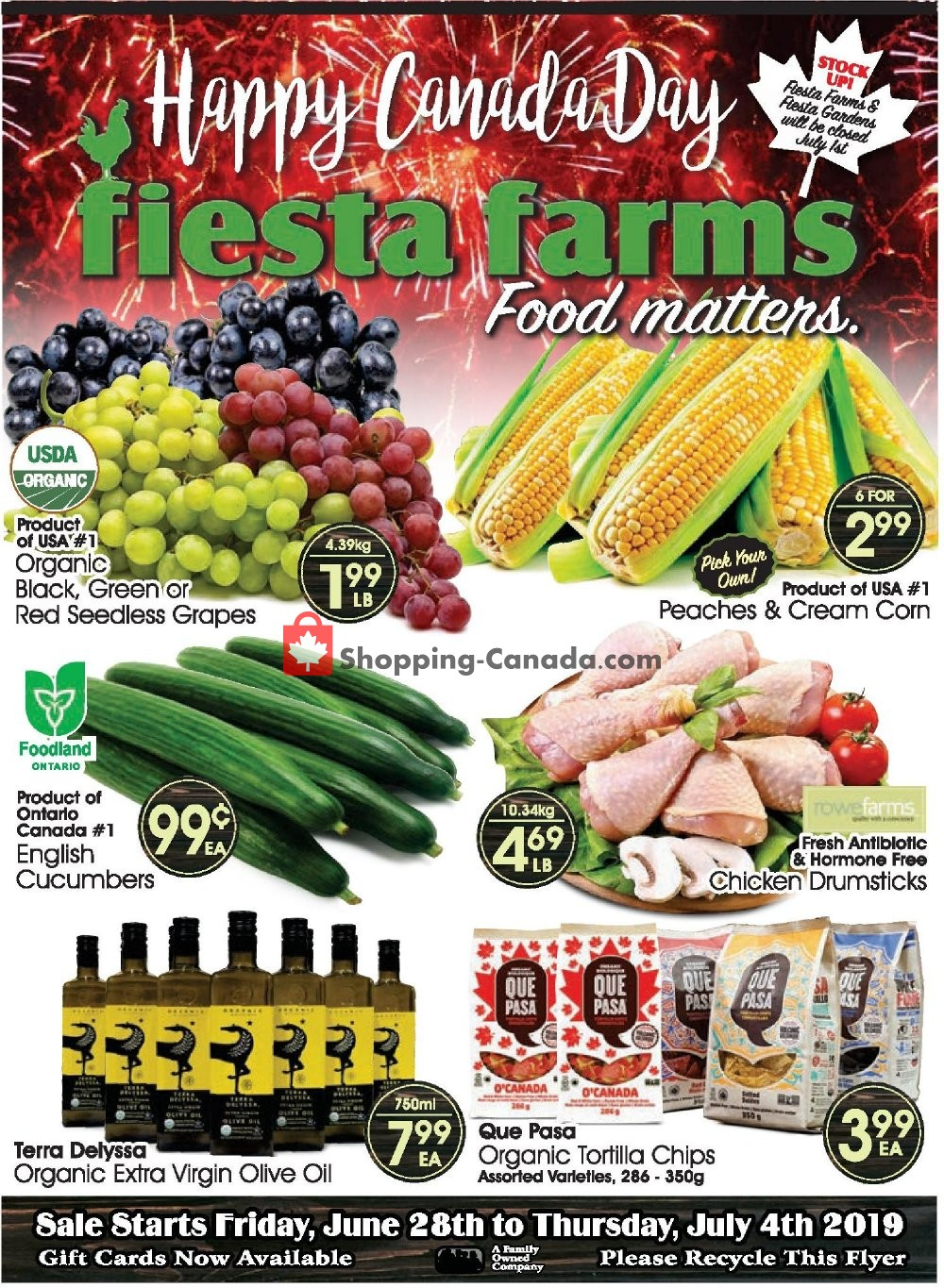 Flyer Fiesta Farms Canada - from Friday June 28, 2019 to Thursday July 4, 2019