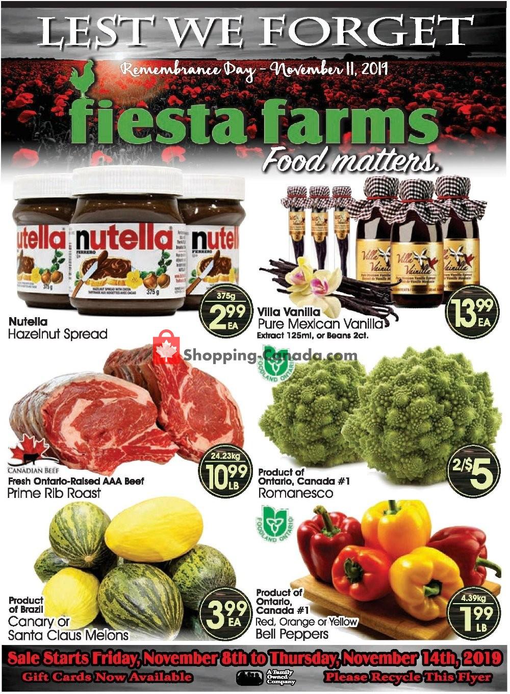 Flyer Fiesta Farms Canada - from Friday November 8, 2019 to Thursday November 14, 2019