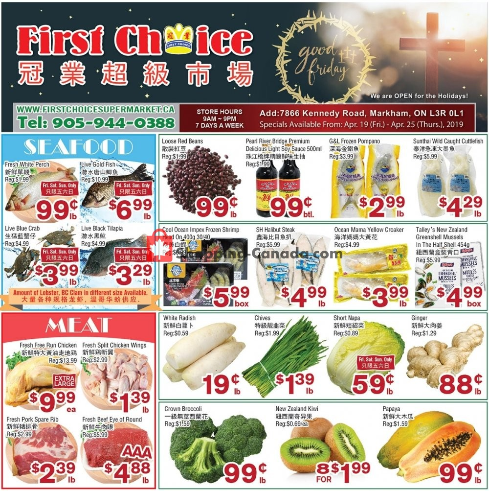 Flyer First Choice Supermarket Canada - from Friday April 19, 2019 to Thursday April 25, 2019